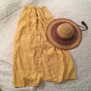 Gorgeous Yellow Flax Linen Maxi with Front Pockets
